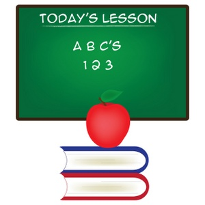 School Clipart Image  Today  Lesson  Chalkboard With Abc S And 123 And