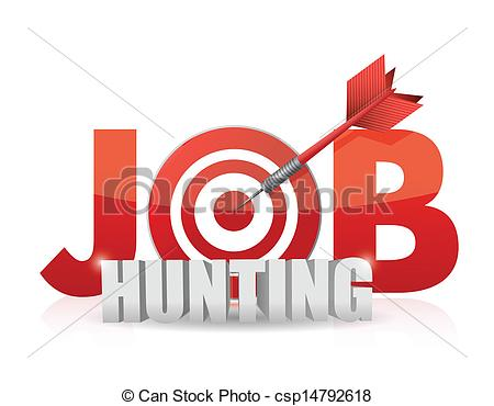 Vector   Phrase Job Hunting Isolated On White    Stock Illustration