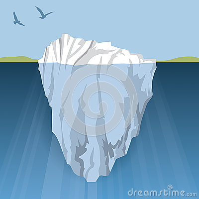 An Iceberg Floats In The Water Close To Land The Danger Is Hidden
