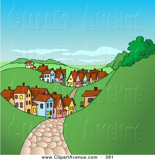 Avenue Clipart Of A Brown Cobblestone Road Leading To A Village Of