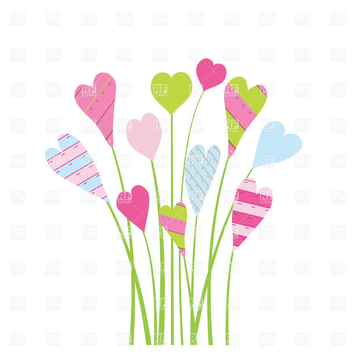 Bright Valentine S Card With Flowers And Hearts Download Royalty Free