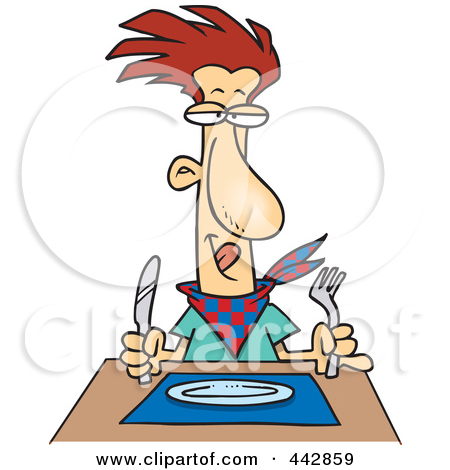 Clip Art Illustration Of A Cartoon Hungry Man Waiting For His Dinner