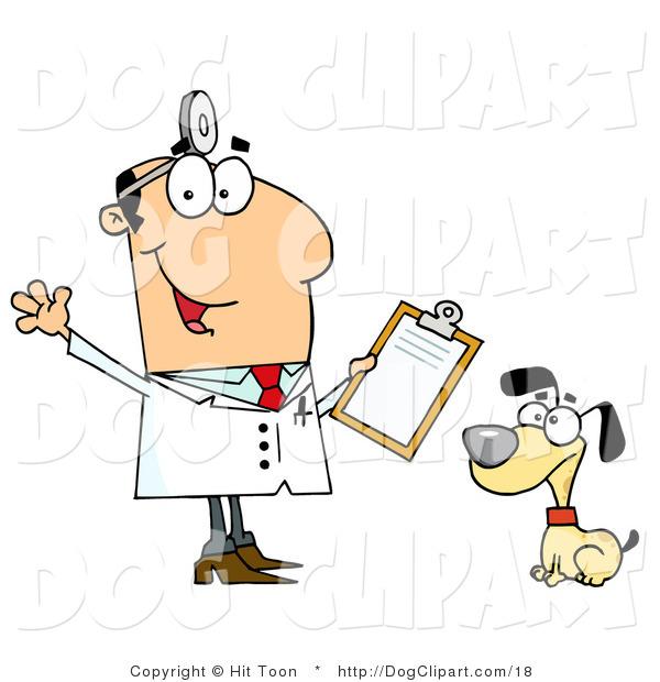 Clip Art Of A Caucasian Cartoon Dog Veterinarian Man With A Clipboard