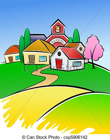Clip Art Of Village Illustration   Colorful Illustration Of Small And