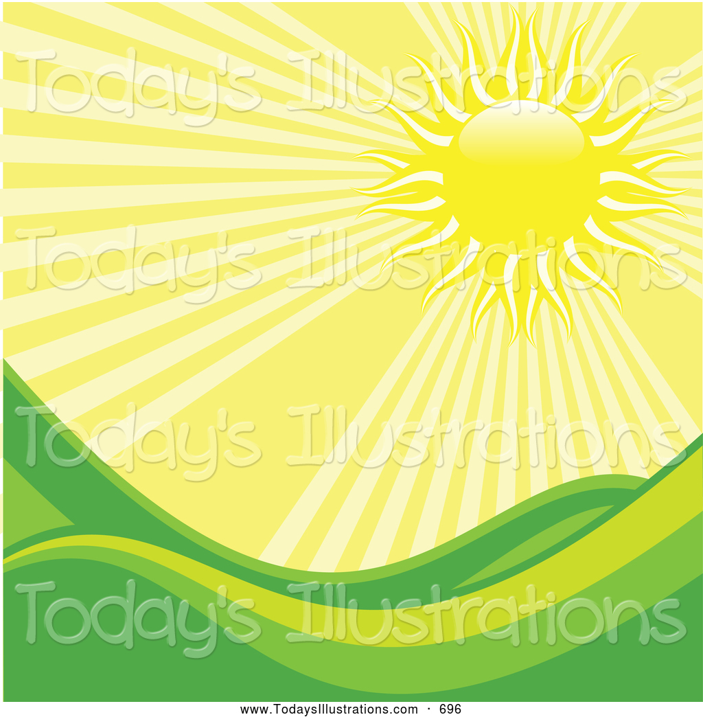 Clipart Of Hot Bright Rays Of Light Beating Down On Rolling Green
