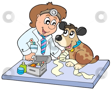 Dog With Sick Paw At Veterinarian Stock Vector Clipart Dog With Sick