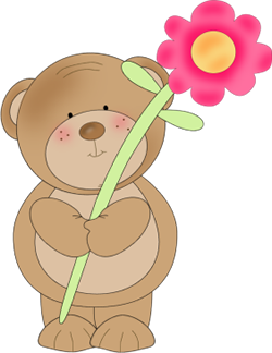 Flower Bear   Brown Bear Holding A Pink Flower With A Long Green Stem