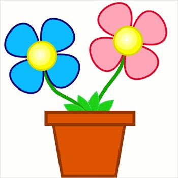 Free Bright Flowers In Planter Clipart
