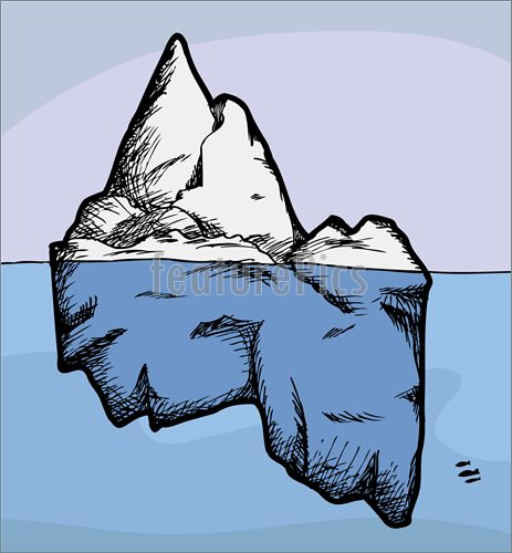 Illustration Of Cross Section View Of An Iceberg Above And Below Water