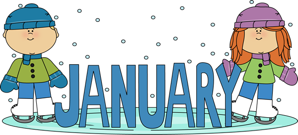 January Ice Skating Kids Clip Art Image   The Word January In Blue