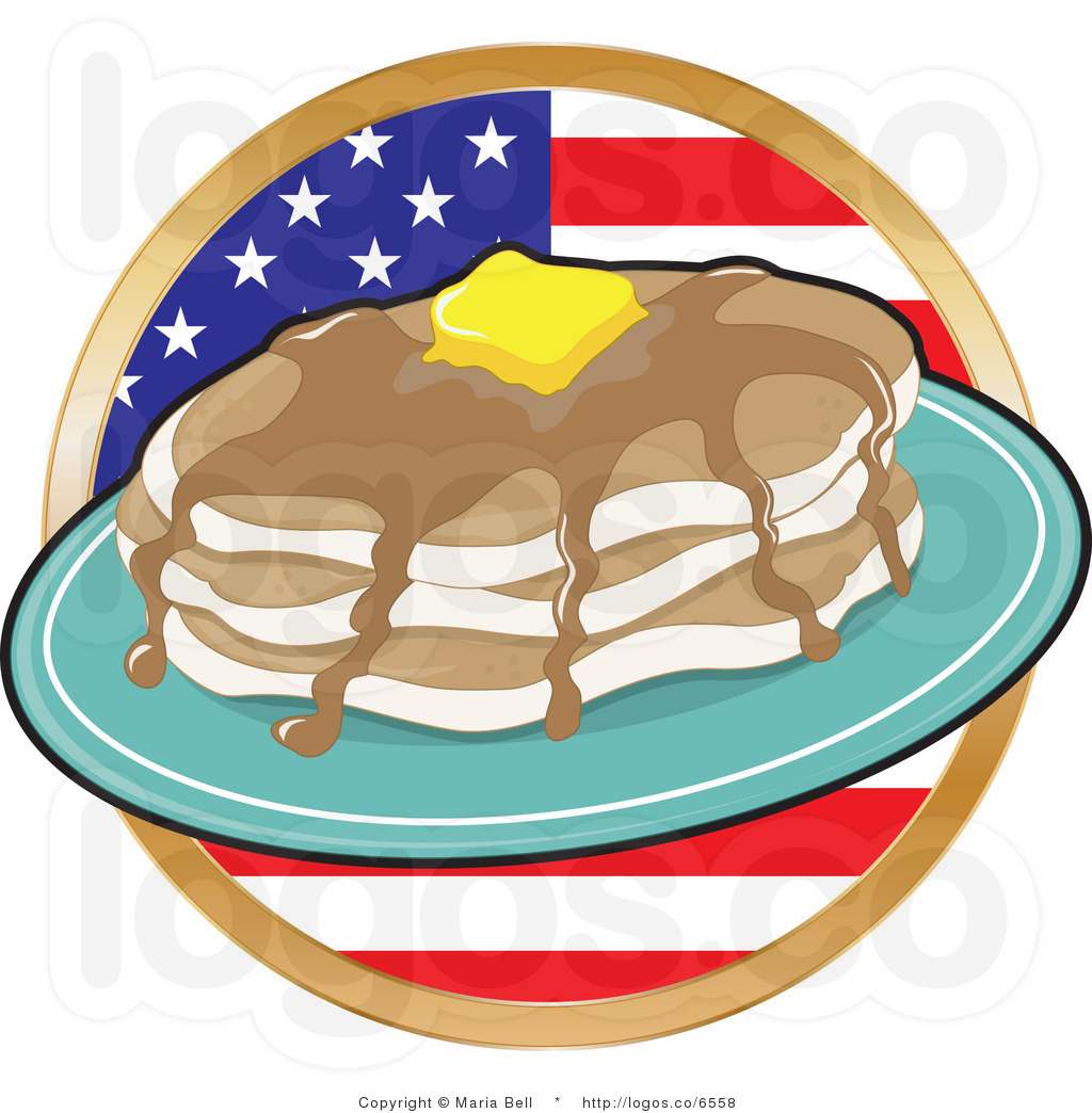 Pancake Clipart Royalty Free Clipart Flapjacks Over An American Flag
