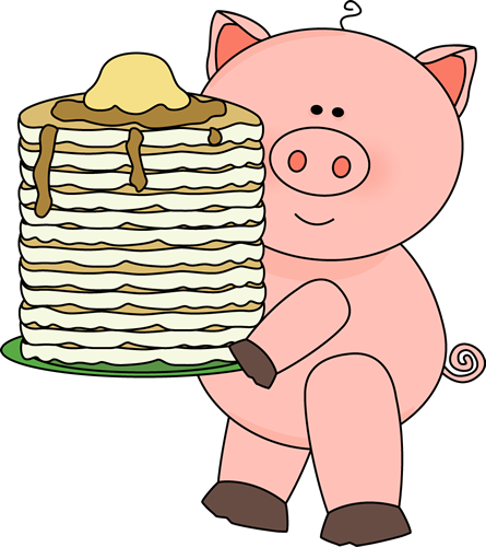 Pig With Pancakes Clip Art   Pig With Pancakes Image
