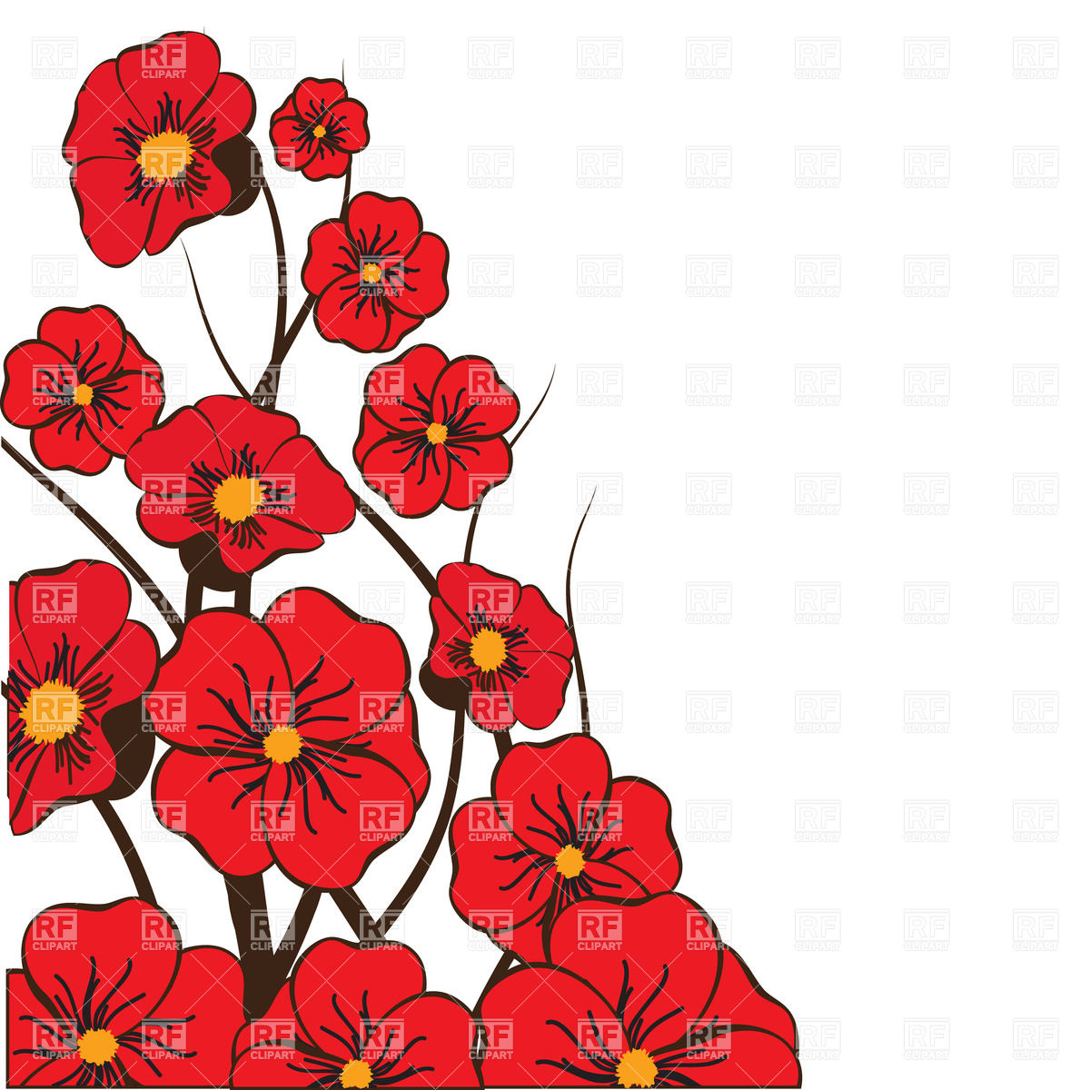 Red Bright Flowers Download Royalty Free Vector Clipart  Eps