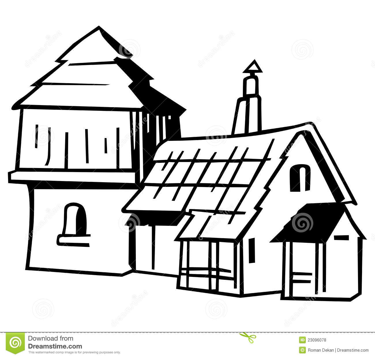 Village House   Black And White Cartoon Illustration Vector