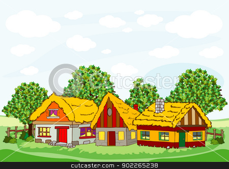 Village Houses Stock Vector Clipart Illustration Of Village Houses