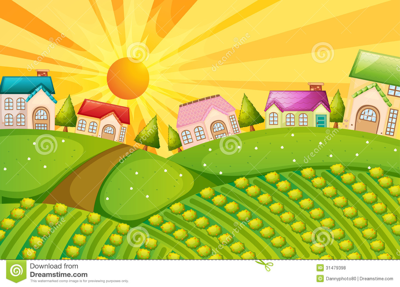 Village With Farm Royalty Free Stock Photos   Image  31479398
