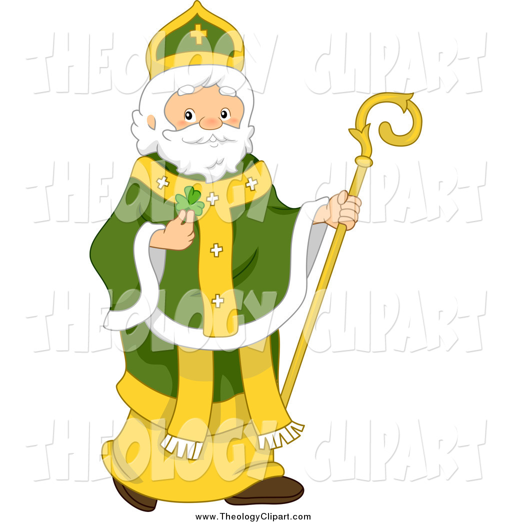Clip Art Of St Patrick With A Clover And Staff By Bnp Design Studio