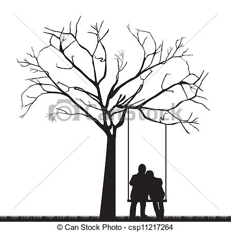 Clip Art Vector Of Couple Under Tree   Black Couple Under Tree Over