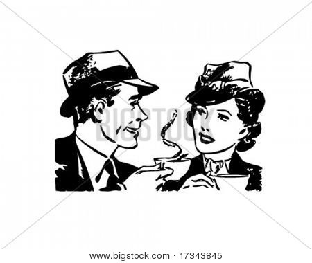 Coffee Time Chat   Retro Clip Art Stock Vector   Stock Photos