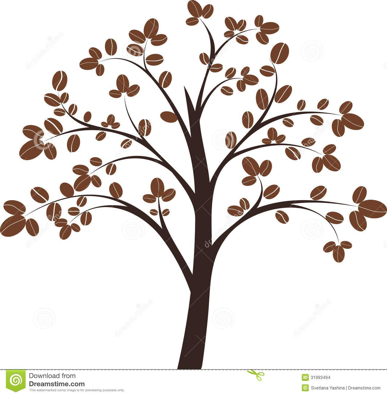 Coffee Tree On White Background Vector Illustration