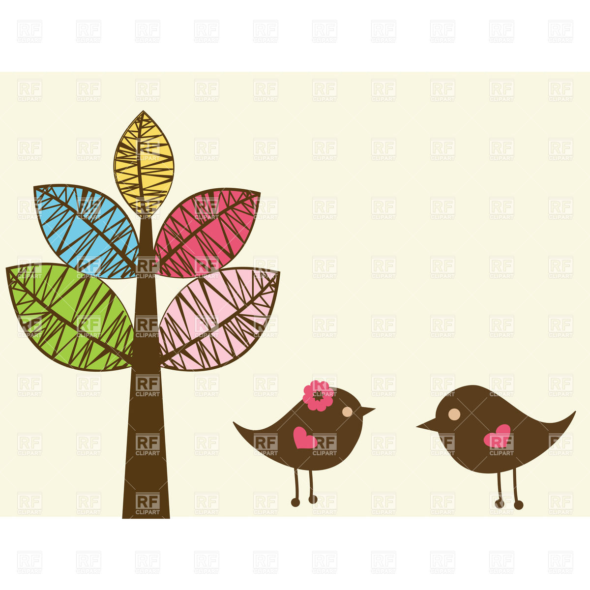 Couple Of Birds And Stylish Tree Download Royalty Free Vector Clipart