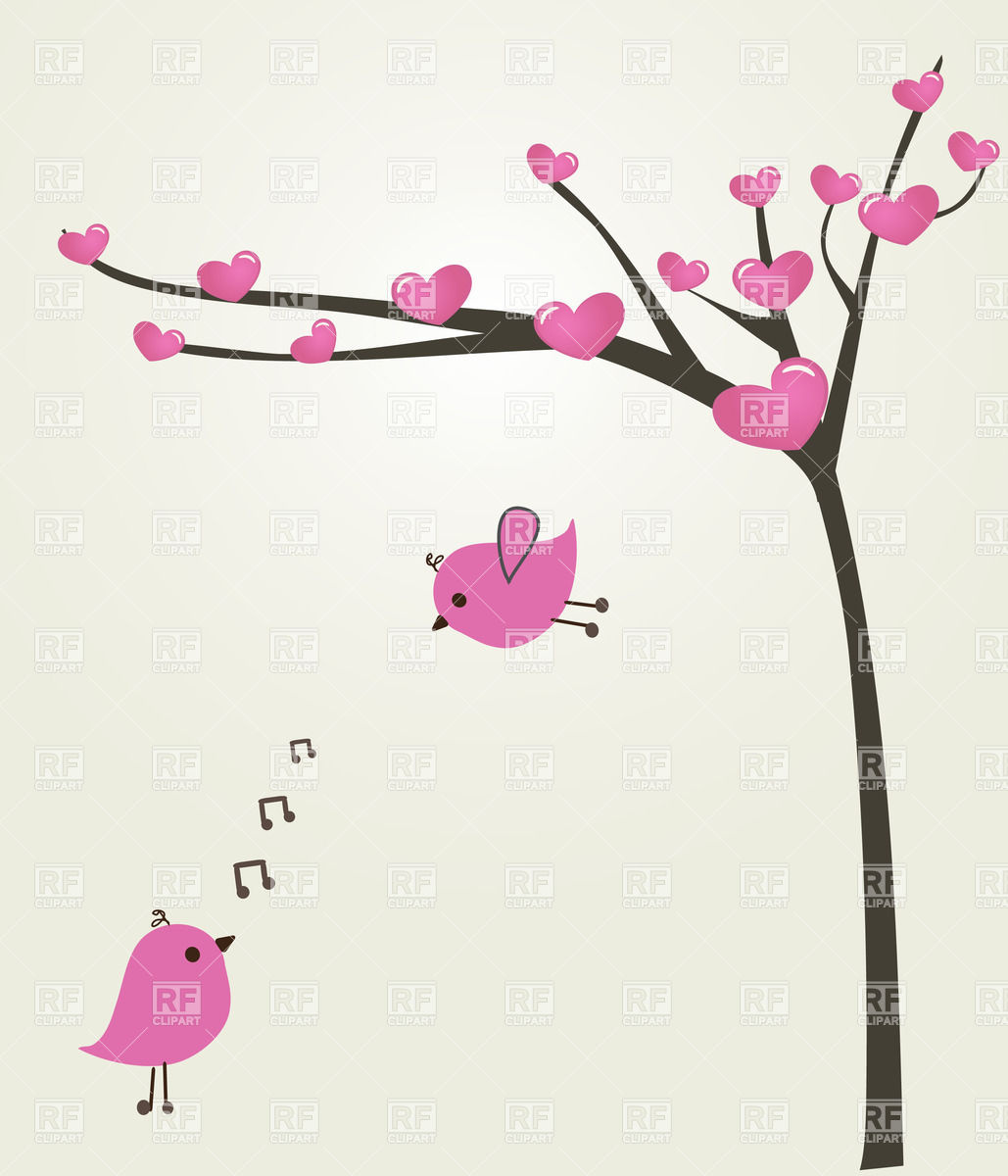 Couple Of Pink Birds In Love Near Spring Tree Covered With Heart