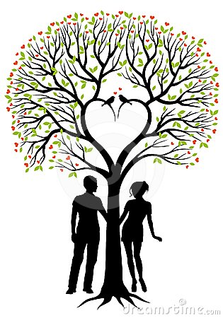Couple With Heart Tree Vector Background Royalty Free Stock Photos