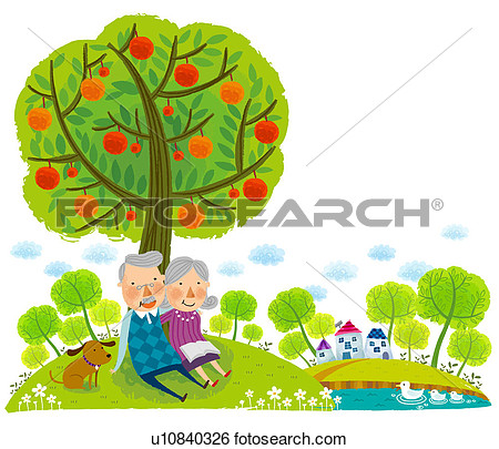 Elderly Couple Sitting Under Tree   Fotosearch   Search Clip Art