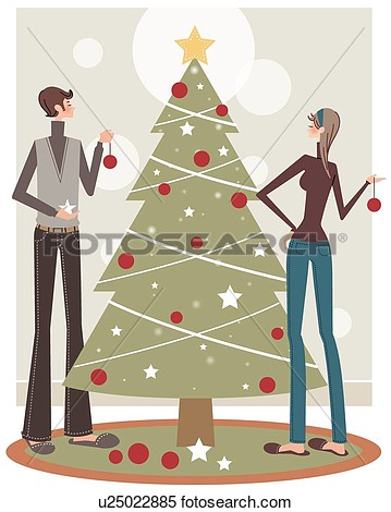 Illustration   Couple Decorating Tree  Fotosearch   Search Clipart