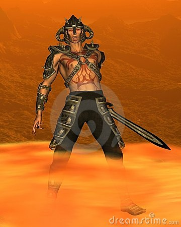 More Similar Stock Images Of   Demon Warrior With Fiery Background