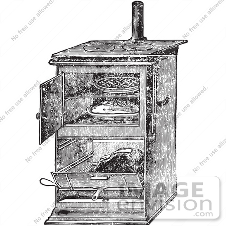 Retro Clipart Of A Vintage Antique Gas Cooking Stove With Food Baking