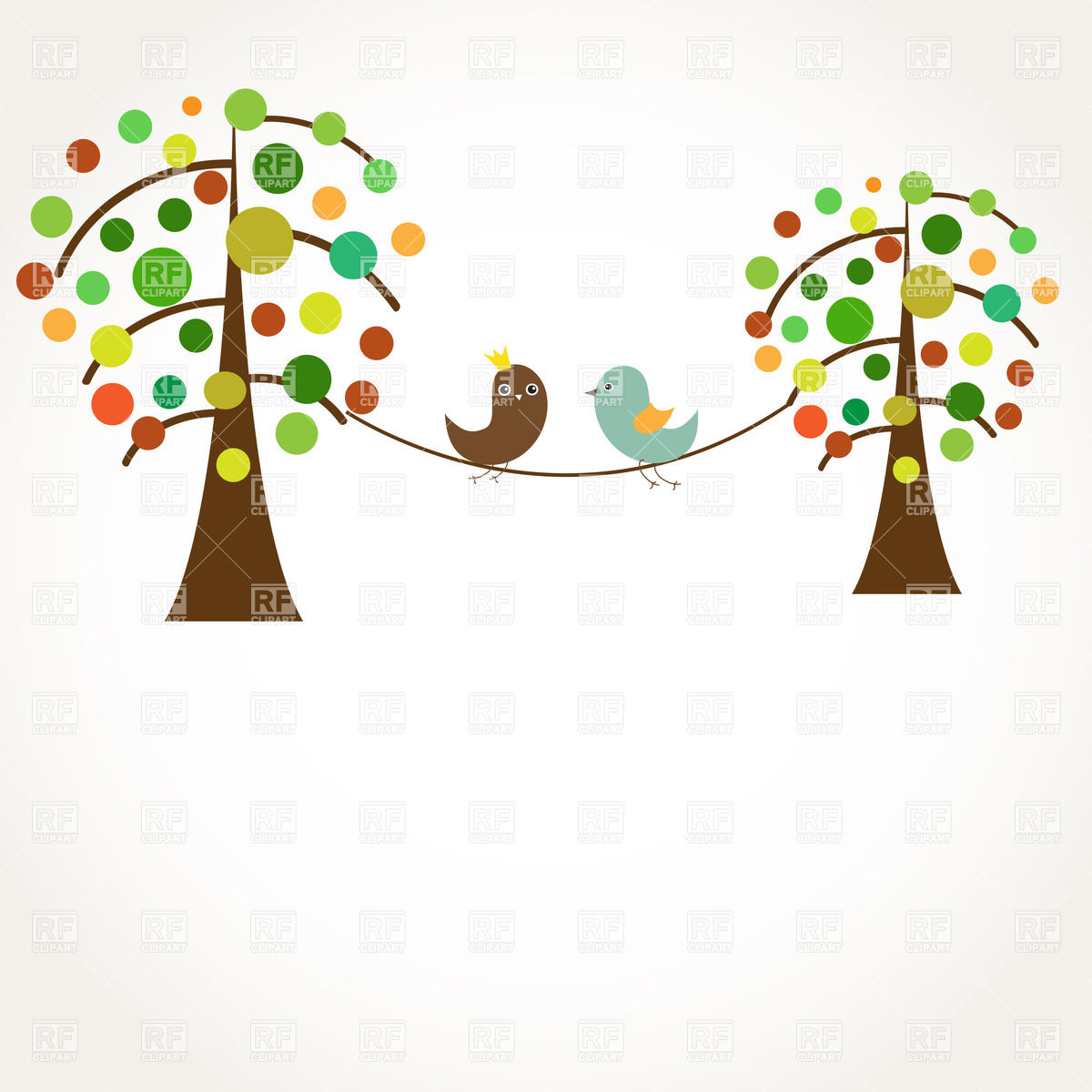 Royalty Free Clip Art Illustration Love Bird Couples Tree