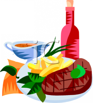 Steak Dinner With Wine Clipart Image   Foodclipart Com