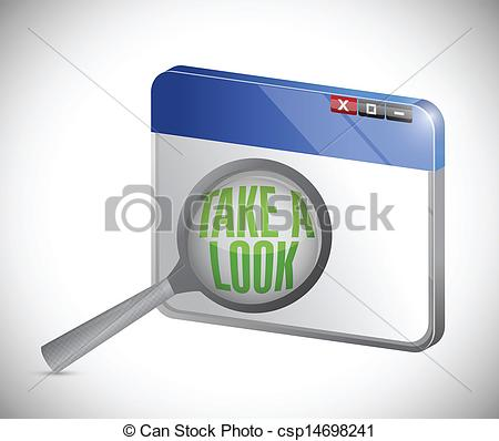 Take A Look Clipart Vector   Internet Take A Look Concept Under A