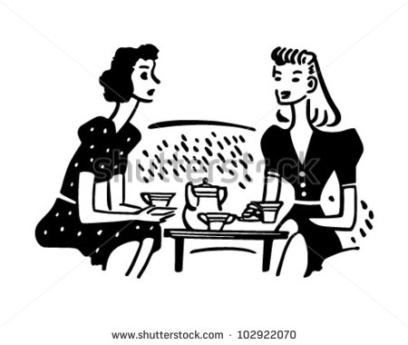 Tea Time Chat   Retro Clipart Illustration   Stock Vector
