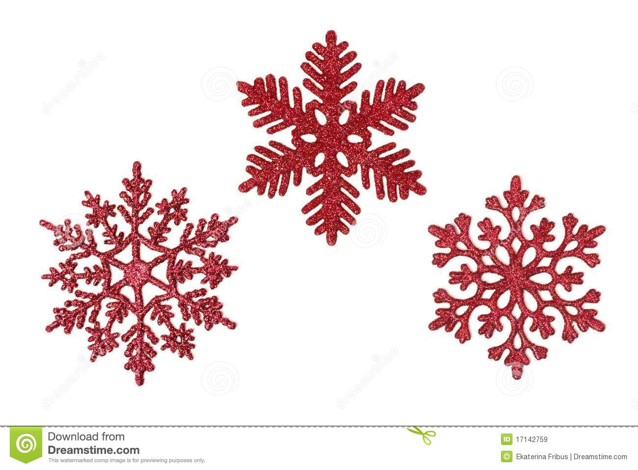 Three Red Glitter Snowflakes Royalty Free Stock Images   Image