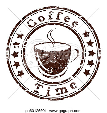 Vector Coffee Time Grunge Stamp With A Cup  Clipart Drawing
