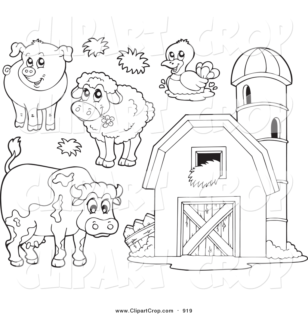 Art Vector Of Lineart Farm Animals And A Barn With Granary By Visekart