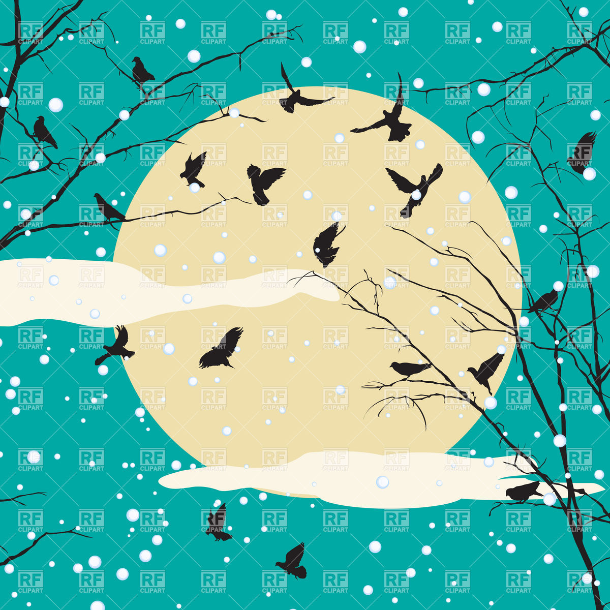 Bird Silhouettes And Tree Branches Over Moon   Winter Background 6679
