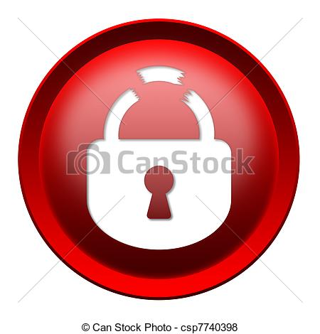 Broken Lock Round Button Isolated Over White Background