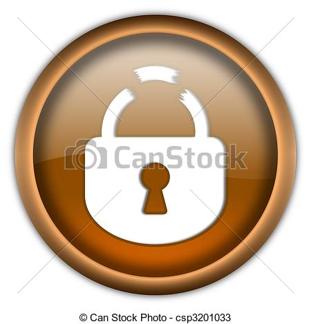Broken Lock Round Glossy Button Isolated Over White Background