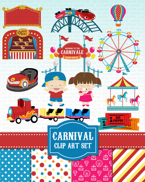 Carnival Clip Art Amusement Park Fair Clipart Set   Carnivale Rides