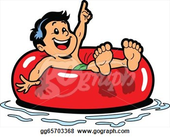 Clip Art Vector   Happy Boy Floating On An Inner Tube In The Water