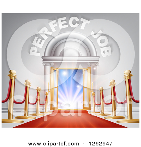 Clipart Of A Venue Entrance With Perfect Job Text Posts And Red