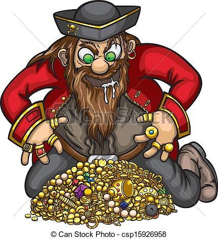 Clipart Vector Of Pirate With Gold Treasure   Greedy Pirate Is Capture