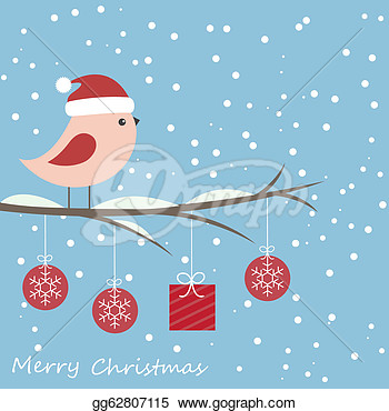 Clipart   Winter Card With Cute Bird  Stock Illustration Gg62807115