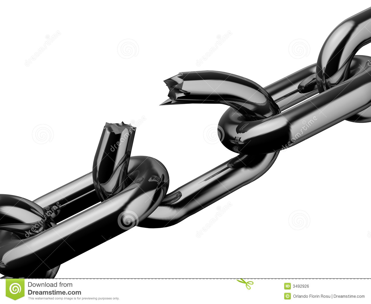 Conceptual Broken Chain Isolated On White Background   Rendered In 3d