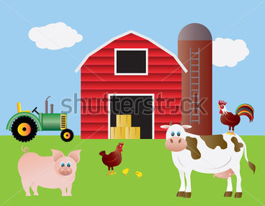 Farm With Red Barn Tractor Pig Cow Chicken Farm Animals Illustration