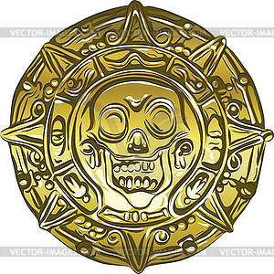Gold Money Pirate Coin With Skull   Vector Image