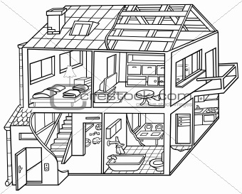Image Description  Dwelling House   Black And White Cartoon